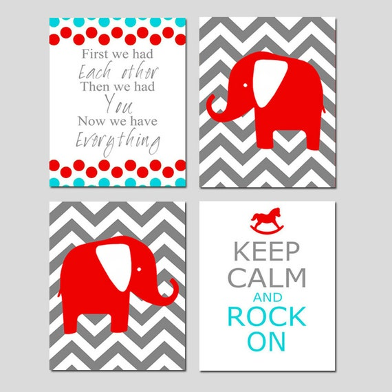 Modern Nursery Art Quad - Set of Four 11x14 Prints - First We Had Each Other, Chevron Elephant, Keep Calm and Rock On - CHOOSE YOUR COLORS