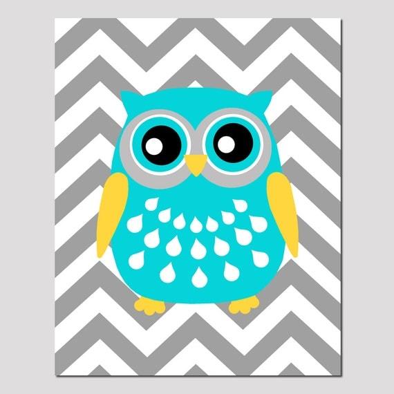 Modern Chevron Owl Silhouette Nursery Art Print 8x10 Kids