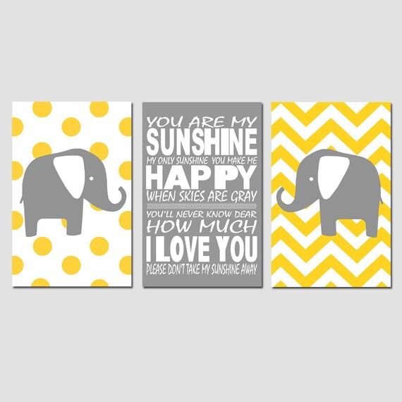 Nursery Art Trio - Set of Three 11x17 Prints - Polka Dot Elephant, You Are My Sunshine, Chevron Elephant - CHOOSE YOUR COLORS - Yellow, Gray