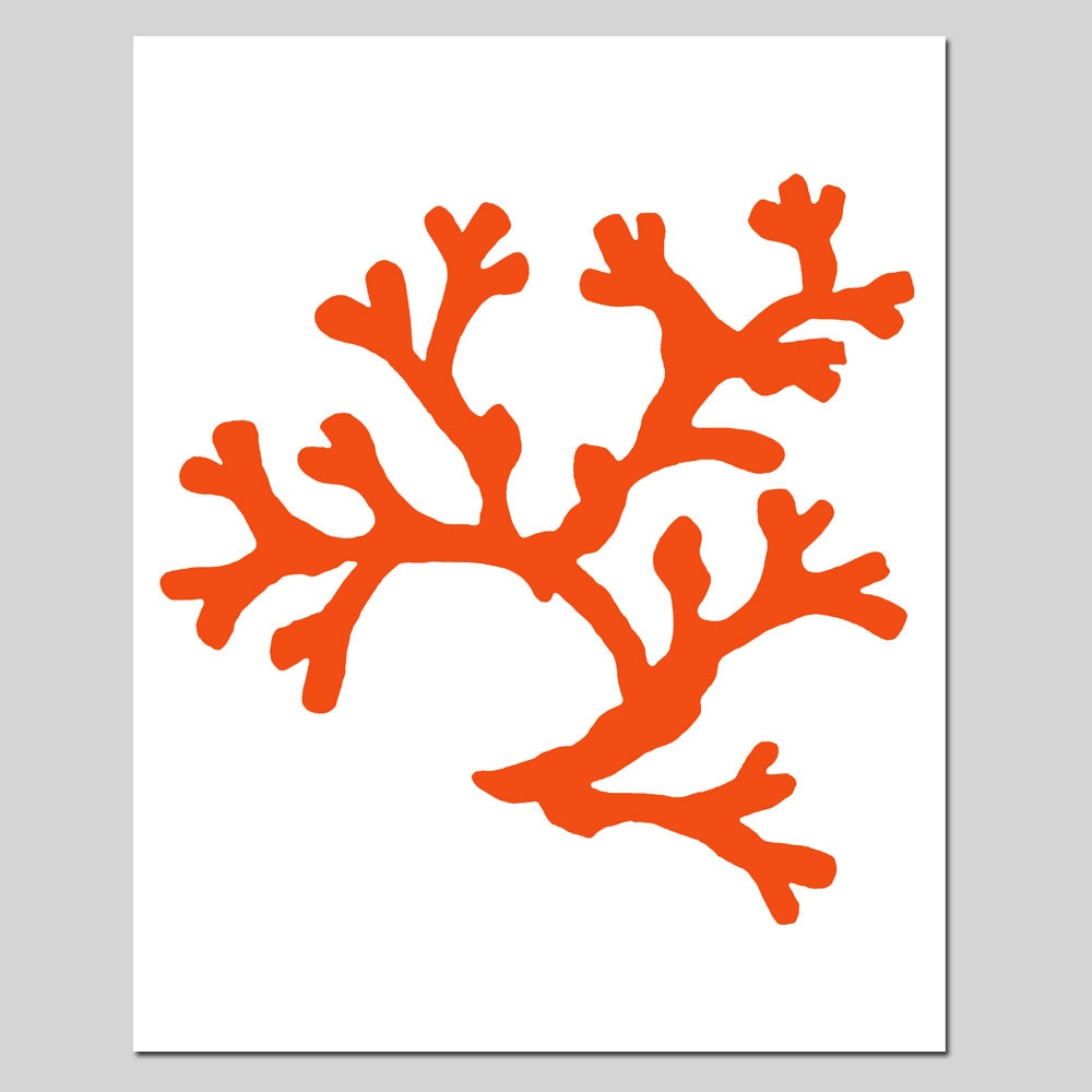 Coral 8x10 Sea Life Nautical Beach Silhouette Print As