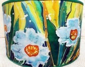 Handpainted Fabric/Textile. Modern Batik Style. Large Lamp Shade Drum/Pendant Lampshade. Great Decor for Children Room. Handmade.