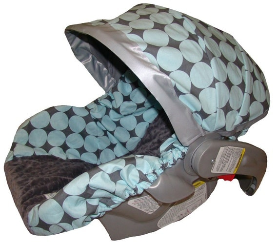Infant Car Seat Cover - Baby Car Seat Cover - Blue and Gray Disco Dot