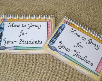 SALE - How to Pray Your Students/How to Pray for Your Teachers Combo Set, Laminated Prayer Cards, Spiral-Bound