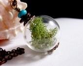 Earth Balance Moss Terrarium Organic Hollow Lampwork Bead Round Necklace-  30 inches