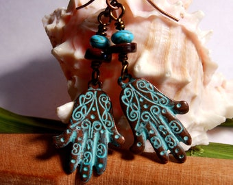 Hamsa Hand of Fatima Yoga Inspired Copper with Green Patina Om Ohm Earrings Turquoise Shell
