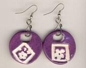 Purple Flower Earrings round hoops with silver ear wires