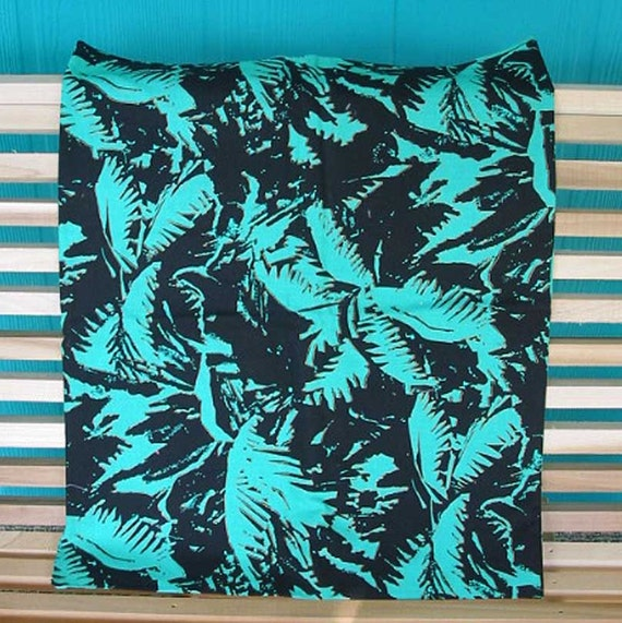 Teal And Black Palm Frond Fabric Tropical Motif Gilt Outline