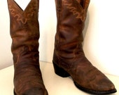 Nicely broken In Brown Destressed leather Ariat brand cowboy boots
