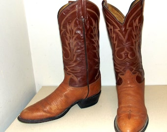 Two tone brown Tony Lama cowboy boots size 8.5 D or cowgirl size 10 with stacked wood heels