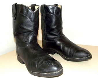 Texas brand Black Roper style cowboy boots size 6 D or Cowgirl size 7.5