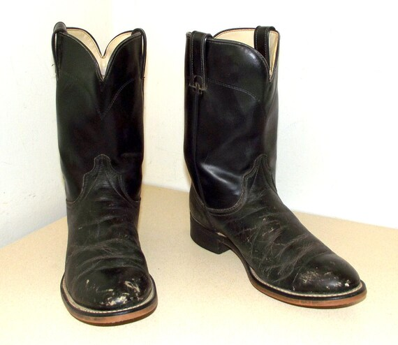 Vintage Black Leather Roper style Laredo Cowboy boots size 8 D or cowgirl size 9.5