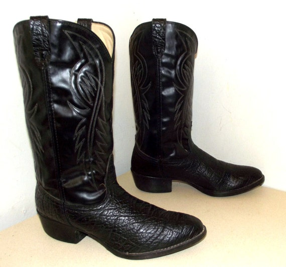 bronco brand cowboy boots black leather size 10 ee or