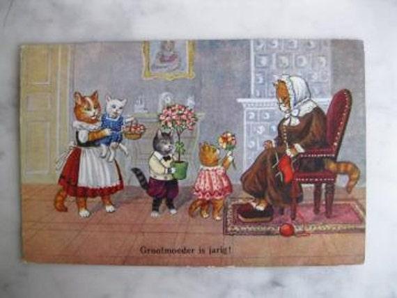 Antique Dressed Cats postcard. Grandmas Birthday. 1930 Era