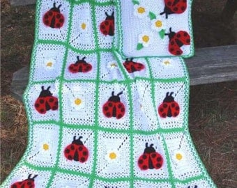 Ladybug Afghan and Pillow Set Crochet Pattern PDF