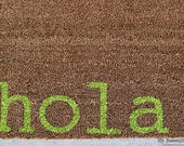 Witty Hand Painted Coir Welcome Mat - hola. - Choose Your Color