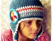 Crochet Winter Hat, Striped Blue Hat, Earflap Hat for Kids, Blue Hat for Boys, Crochet Hat for Kids, Knit Hat for Boys, Boys Hats