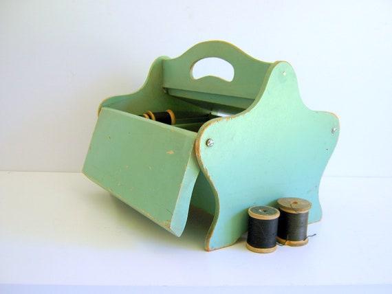 Antique Sewing Box Jadite Green 1940s