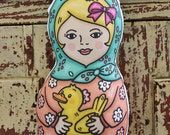 Duck Babushka Mo Doll - Mint scarf matryoshka girl softie toy with pet duck
