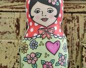 Classic Babushka Mo Doll - Red Polka Dot scarf matryoshka girl softie toy with pink heart