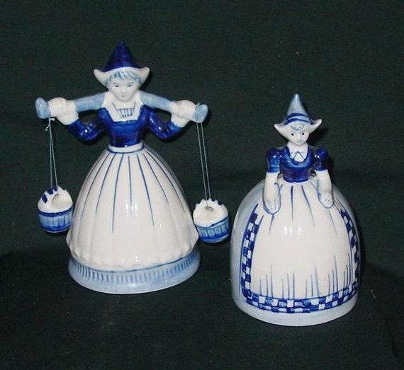 SALE Dutch Girl (2) Bells DELFT Blue Holland Signed Dated Cobalt White Porcelain Vintage 1964 Christmas ORNAMENTS Tree Garland Wreath