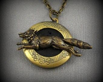 Wolf Locket, Running Fox Locket, Steampunk Antique bronze Large Locket- Canis