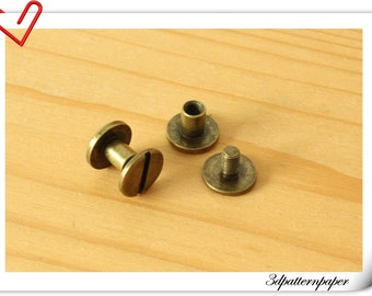 9mm x 5mm Anti brass screws rivets 20sets Chicago screw/Concho screw Non-Rusting H25