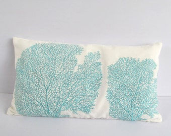aqua blue coral pillow 12x20 inch stock clearance 20 off coastal sea nautical themed