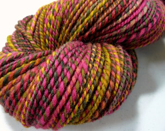 "Handspun Yarn Worsted Wool 220 yds. ""Fruit Salad"""