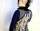 Gray Blue Running Zebras Sweatshirt Jacket - Coat Vintage Patch Upcycled Punk Track Athletic