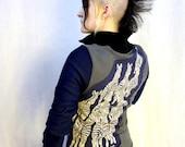 Gray Blue Running Zebras Sweatshirt Jacket - Coat Vintage Patch Upcycled Punk Track Athletic