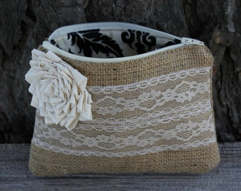 Burlap and Lace Wedding Clutch - Bridesmaid Clutch - Wedding Bag - Bridal Party - You Choose The Color Flower and Lining