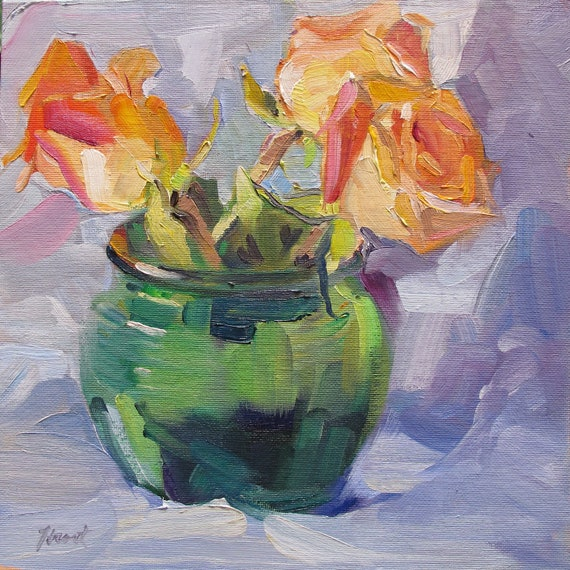 daily still life floral alla prima roses 'Peach Roses II' by Linda Hunt 10X10 abstract contemporary