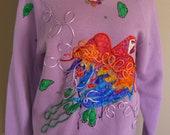 Vintage Parrot Sweater Sweatshirt Handmade Applique Collage Patchwork Beaded Bird