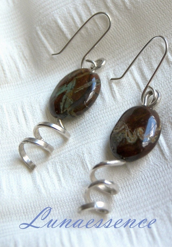 African Onyx Sterling Silver Twisted  Earrings