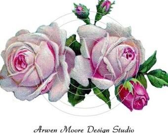 Beautiful Vintage Chic Shabby Pink Roses Spray Waterslide Water Slide Miniature Decals ro-120