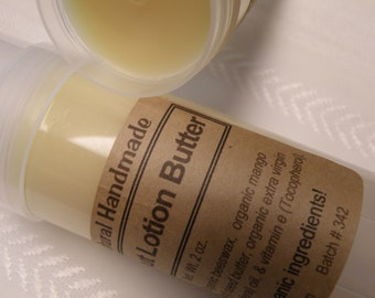 Coconut Body Butter Lotion Twist-Up Tube, Large, with Organic Ingredients with No Added Scent