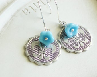 Fleur di Lis Earrings - Silver