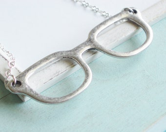 Silver Statement Necklace - Spectacles - Silver Eyeglass Necklace