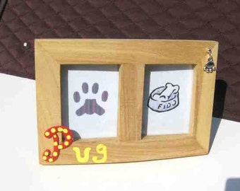 Final Markdown Sale...PUG Dog Breed Wood Desktop Double Photo Frame w/Pawprint Charm