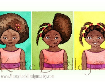 Hair Time - set of 3 prints in 5x7 size