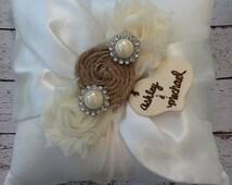 RING BEARER PILLOW / burlap personalized ring bearer pillow , rustic wedding , barn yard ,wedding pillow , wedding pillow