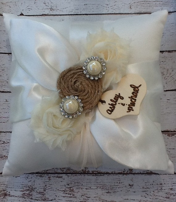 Monogram Wedding Ring Bearer Pillow: RING BEARER PILLOW / Burlap Personalized Ring Bearer Pillow