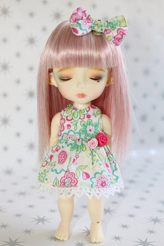 Lati Yellow PukiFee -Liberty Flower Garden Part 2- Dress, Bow - Pink Green - SET - Limited