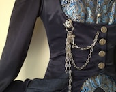 Navy Satin and Denim Victorian/Steampunk Coat and Skirt