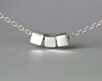 Sterling Silver Square Bead Necklace