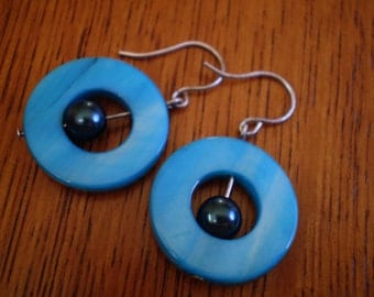 Turquoise Mother of Pearl Circle Earrings