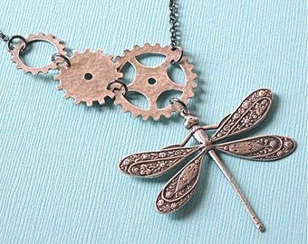 Steampunk Silver Dragonfly Necklace - Gears Jewelry