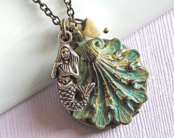 Mermaid Shell Locket Necklace - Jewelry, Verdigris Brass