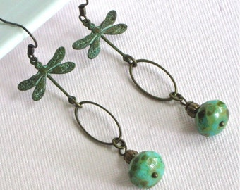 Dragonfly Earrings - Verdigris Patina, Czech Turquoise Glass, Brass, Dragonfly Jewelry, Nature Jewelry