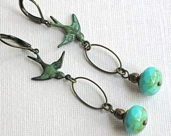 Verdigris Bird Earrings - Czech Glass,  Brass, Bird Jewelry